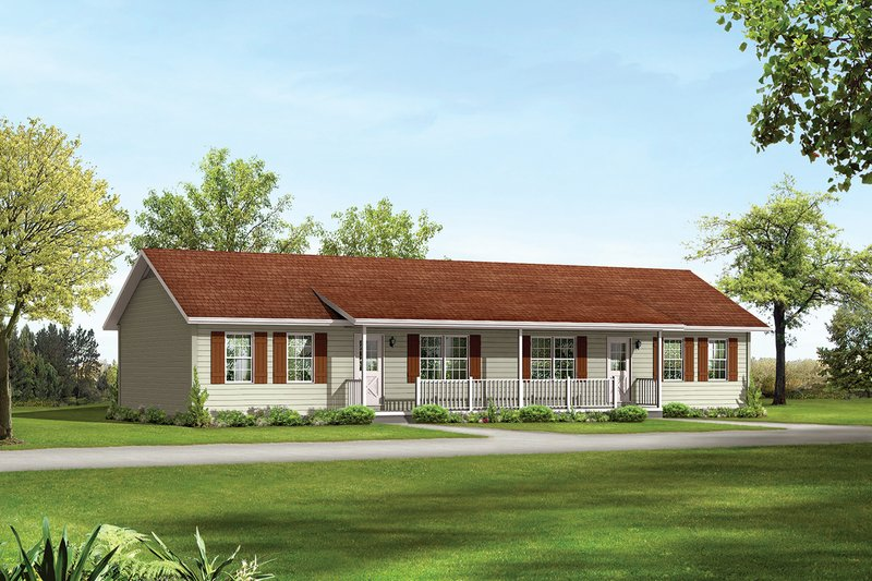 Ranch Exterior - Front Elevation Plan #57-162 - Houseplans.com