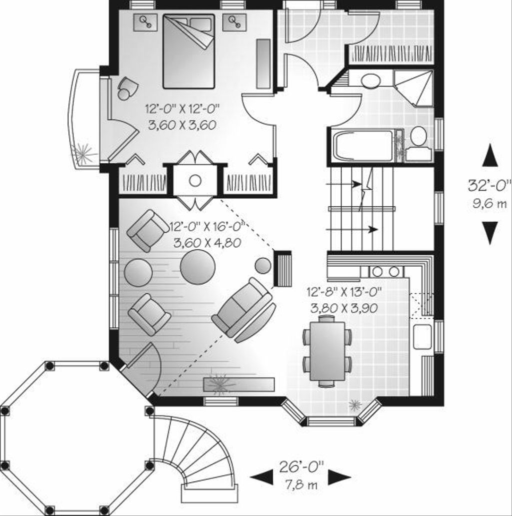 Victorian style house plan 3 beds 1 baths 1444 sq ft for Tk homes floor plans