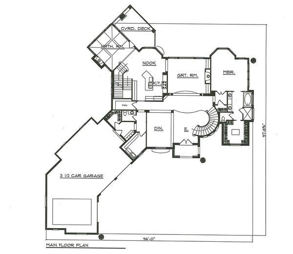 House Plan Design - Main Level Floor Plan - 7000 square foot European home