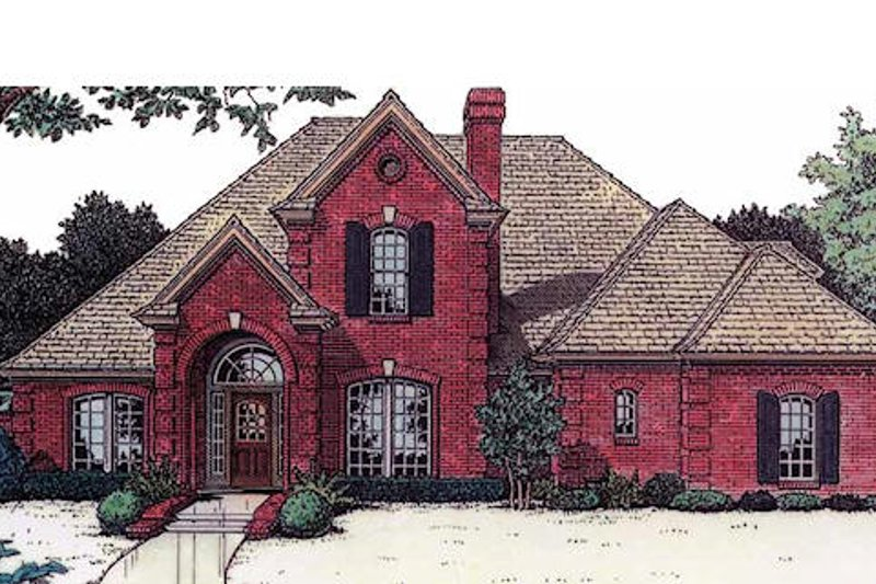 European Style House Plan - 4 Beds 3.5 Baths 2768 Sq/Ft Plan #310-873 Exterior - Front Elevation