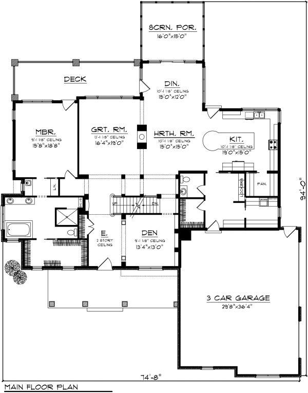 Country Floor Plan - Main Floor Plan Plan #70-1148