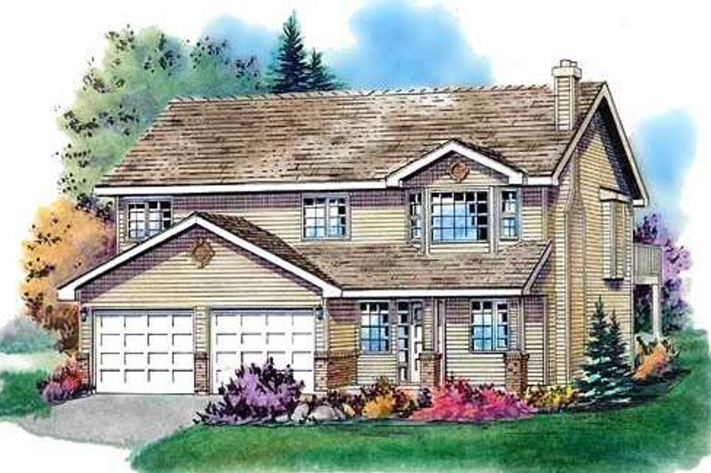 Traditional Style House Plan - 3 Beds 2 Baths 2071 Sq/Ft Plan #18-274 Exterior - Front Elevation