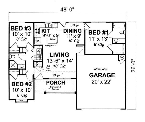 Home Plan - Cottage Floor Plan - Main Floor Plan #513-2055