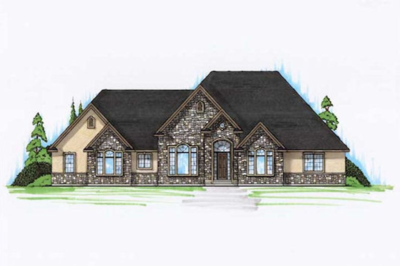 European Exterior - Front Elevation Plan #5-350