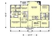 Country Style House Plan - 4 Beds 2.5 Baths 2354 Sq/Ft Plan #44-125 Floor Plan - Main Floor