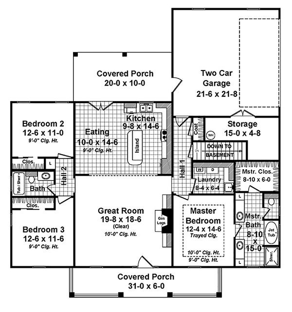 Country Floor Plan - Main Floor Plan Plan #21-393