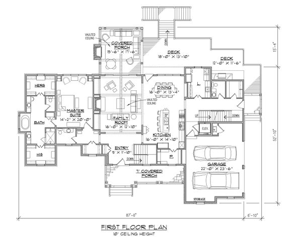 Traditional Floor Plan - Main Floor Plan Plan #1054-21