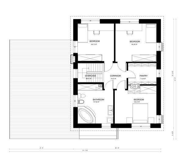 Contemporary Floor Plan - Upper Floor Plan Plan #906-5