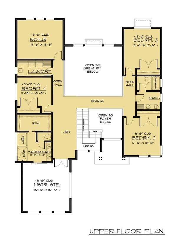 Contemporary Floor Plan - Upper Floor Plan Plan #1066-66