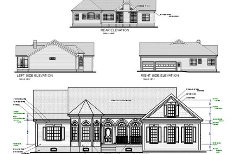 Country Exterior - Rear Elevation Plan #56-151 - Houseplans.com