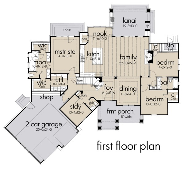 Farmhouse Floor Plan - Main Floor Plan Plan #120-255