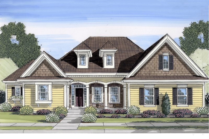 Traditional Exterior - Front Elevation Plan #46-437 - Houseplans.com