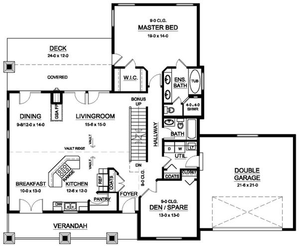 Architectural House Design - Ranch Floor Plan - Main Floor Plan #126-192
