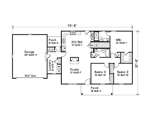 House Plan Design - Ranch Floor Plan - Main Floor Plan #22-622