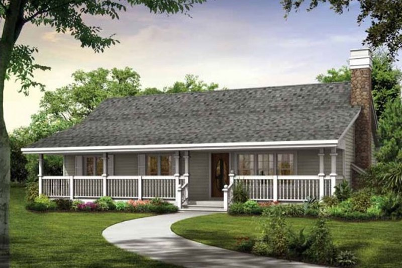 Ranch Style House Plan - 3 Beds 2 Baths 1344 Sq/Ft Plan #47-914 Exterior - Front Elevation