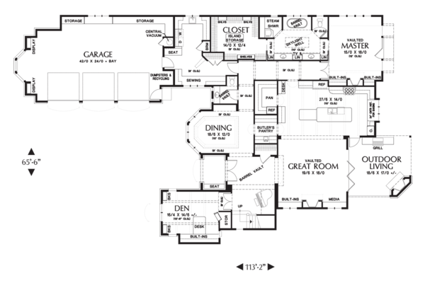 European Floor Plan - Main Floor Plan Plan #48-625