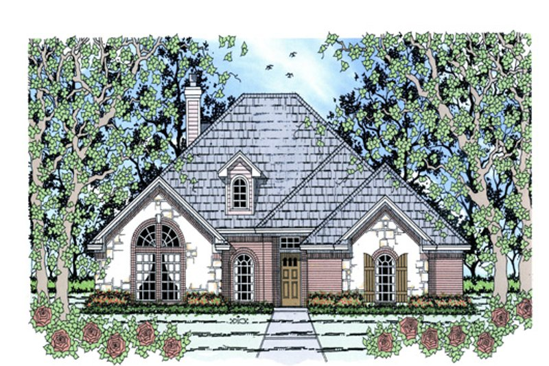 Traditional Exterior - Front Elevation Plan #42-386 - Houseplans.com