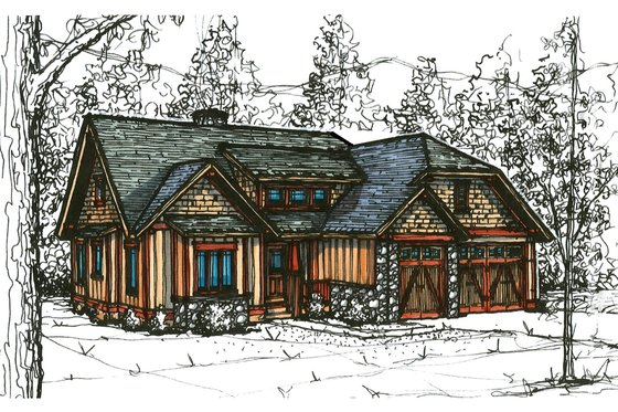 Craftsman Exterior - Front Elevation Plan #921-19