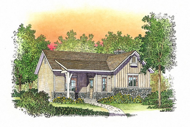 Cottage Style House Plan - 1 Beds 1 Baths 867 Sq/Ft Plan #22-566 Exterior - Front Elevation
