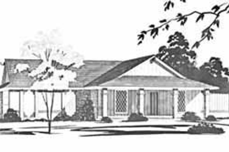 Ranch Style House Plan - 3 Beds 2 Baths 1288 Sq/Ft Plan #36-358 Exterior - Front Elevation