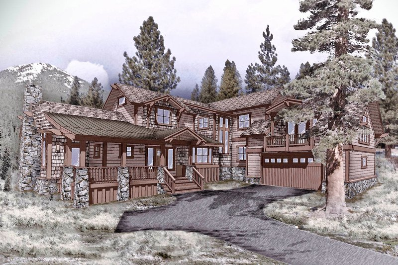 Craftsman Style House Plan - 4 Beds 4 Baths 3642 Sq/Ft Plan #899-2 Exterior - Front Elevation