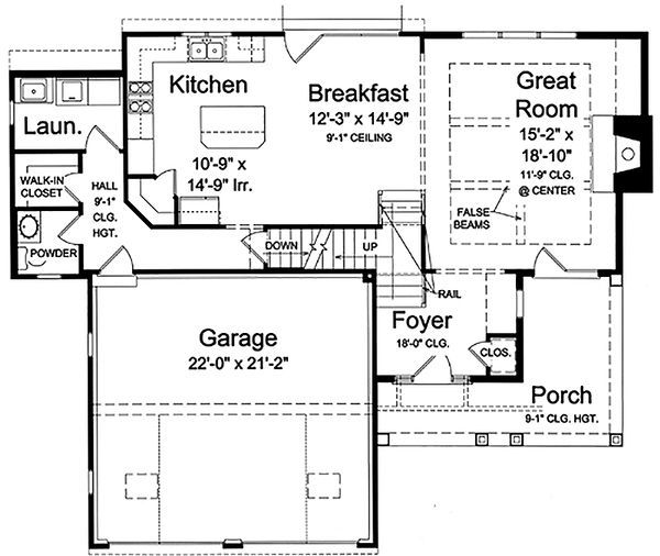 Craftsman Floor Plan - Main Floor Plan Plan #46-470