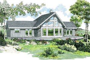 Cabin Exterior - Front Elevation Plan #47-436
