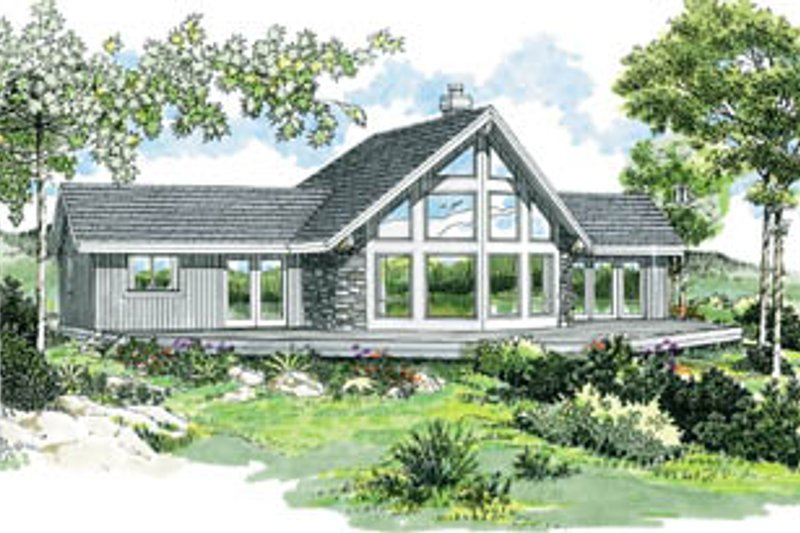 Cabin Style House Plan - 3 Beds 2 Baths 1495 Sq/Ft Plan #47-436 Exterior - Front Elevation