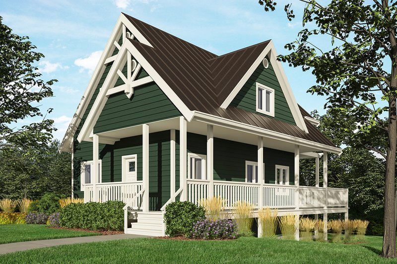 Cottage Style House Plan - 3 Beds 2 Baths 1370 Sq/Ft Plan #118-170 Exterior - Front Elevation