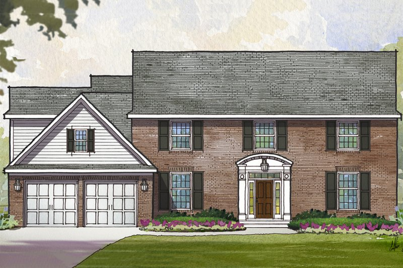 Colonial Style House Plan - 4 Beds 3.5 Baths 3400 Sq/Ft Plan #901-115 Exterior - Front Elevation