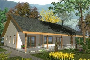 Cabin Exterior - Front Elevation Plan #117-517