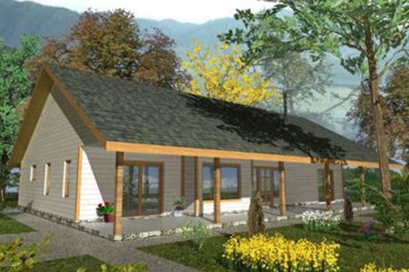 Architectural House Design - Cabin Exterior - Front Elevation Plan #117-517