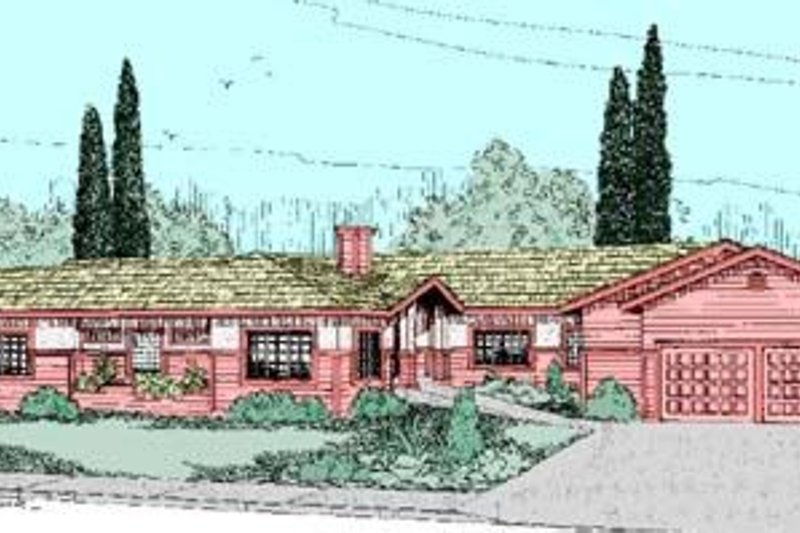 Ranch Style House Plan - 4 Beds 2.5 Baths 2482 Sq/Ft Plan #60-260 Exterior - Front Elevation