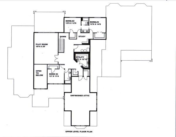 Dream House Plan - Country Floor Plan - Upper Floor Plan #117-892