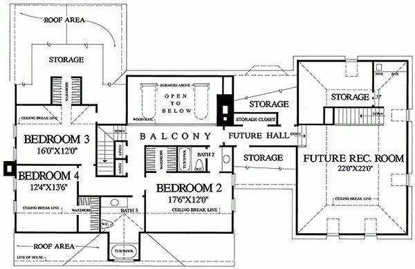 House Design - Southern Floor Plan - Upper Floor Plan #137-149