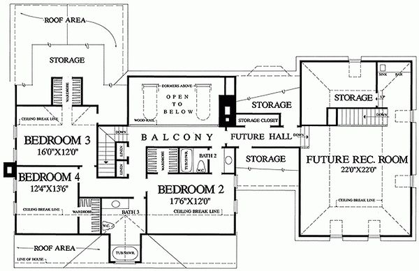 Southern Floor Plan - Upper Floor Plan Plan #137-149