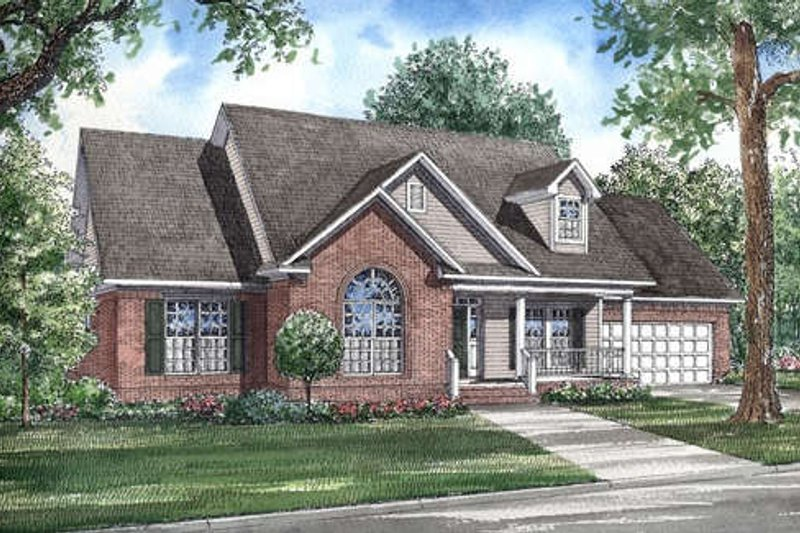 Traditional Style House Plan - 3 Beds 2 Baths 1957 Sq/Ft Plan #17-283 Exterior - Front Elevation