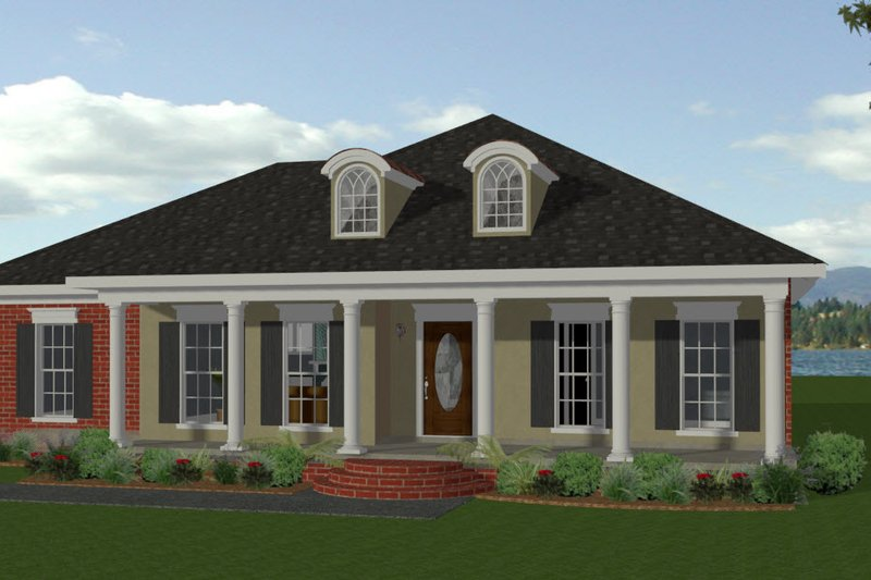 Southern Exterior - Front Elevation Plan #44-152 - Houseplans.com