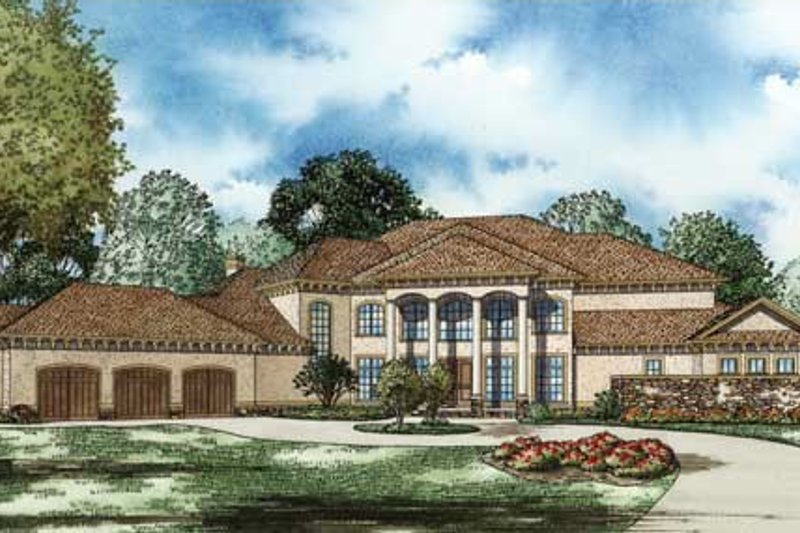 Traditional Style House Plan - 4 Beds 5 Baths 8484 Sq/Ft Plan #17-2346 Exterior - Front Elevation