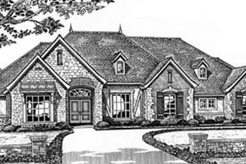 European Style House Plan - 3 Beds 2.5 Baths 2708 Sq/Ft Plan #310-548 Exterior - Front Elevation