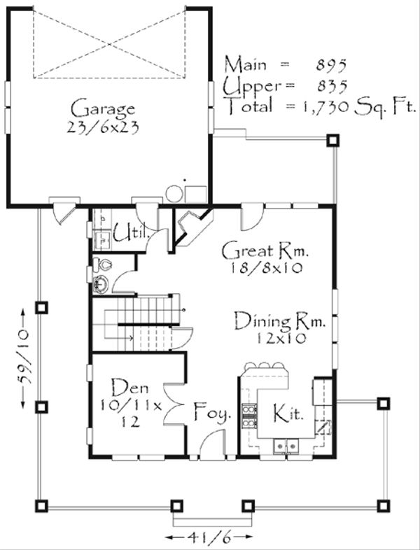 Farmhouse Style House Plan - 3 Beds 2.5 Baths 1730 Sq/Ft Plan #509-21 Floor Plan - Main Floor Plan
