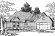 Traditional Style House Plan - 3 Beds 2 Baths 1387 Sq/Ft Plan #70-123 Exterior - Front Elevation