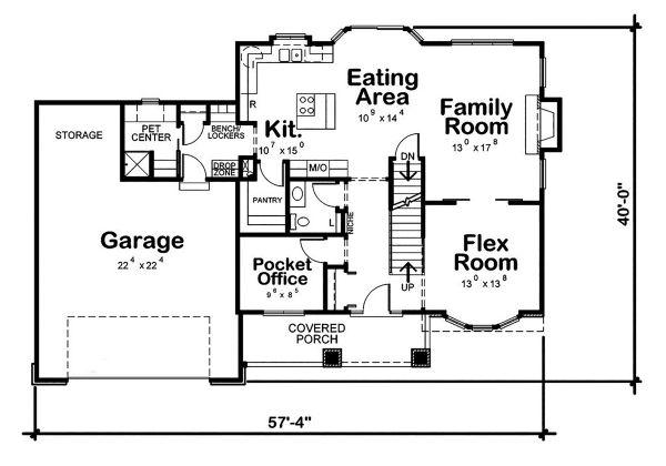 Craftsman Floor Plan - Main Floor Plan #20-2416