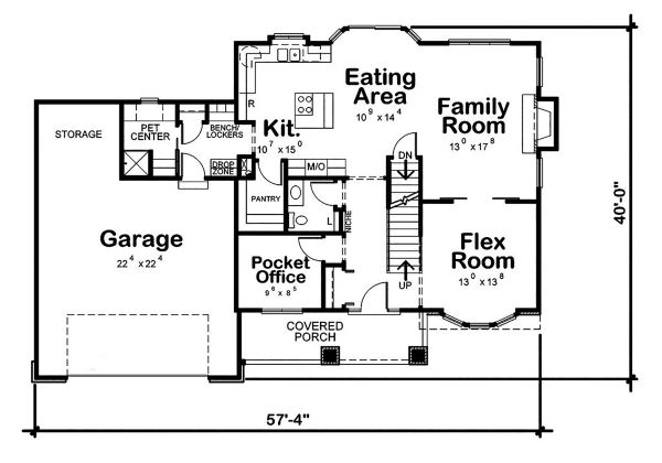 Architectural House Design - Craftsman Floor Plan - Main Floor Plan #20-2416