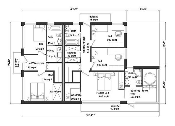 Modern Floor Plan - Upper Floor Plan Plan #549-5