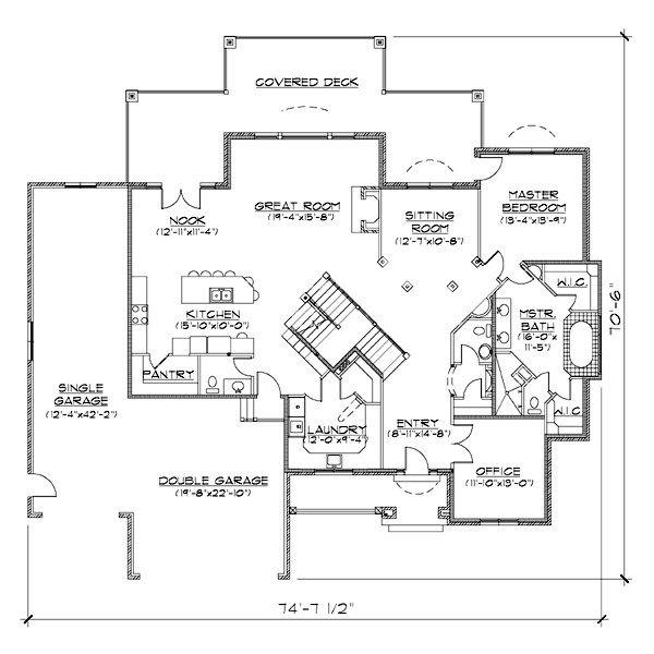 House Plan Design - European Floor Plan - Main Floor Plan #5-405
