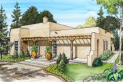 Adobe / Southwestern Style House Plan - 3 Beds 2 Baths 1263 Sq/Ft Plan #140-143 Exterior - Front Elevation