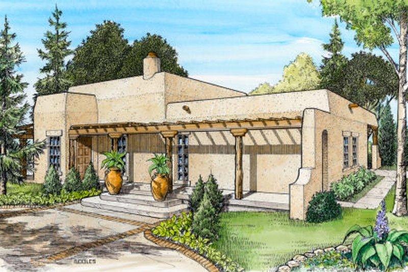 Adobe / Southwestern Style House Plan - 3 Beds 2 Baths 1263 Sq/Ft Plan #140-143
