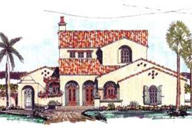 Mediterranean Style House Plan - 3 Beds 3.5 Baths 3321 Sq/Ft Plan #76-109 Exterior - Front Elevation