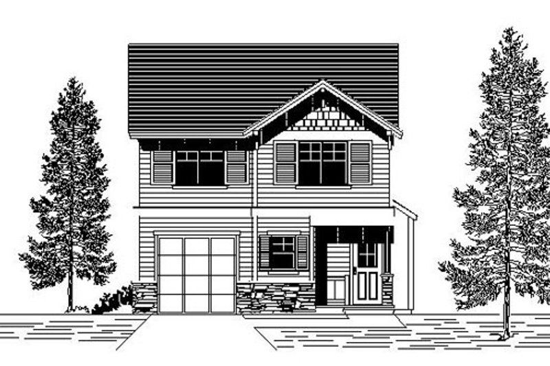 Bungalow Style House Plan - 3 Beds 2.5 Baths 1320 Sq/Ft Plan #53-416 Exterior - Front Elevation
